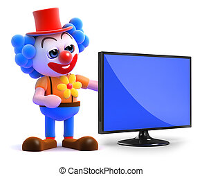 3d Clown flatscreen tv - 3d render of a clown next to a...