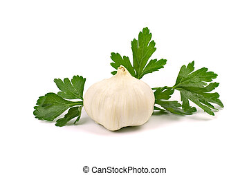 garlic with green parsley