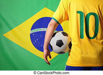 Brazil and soccer - Brazil flag and soccer