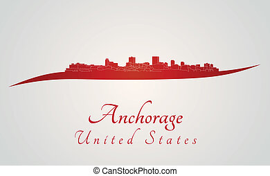 Anchorage syline in red and gray background in editable...