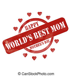 Red Weathered World's Best Mom Happy Mother's Day Stamp Circle and Hearts design