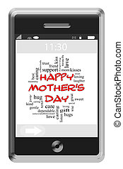 Happy Mothers Day Word Cloud Concept on Touchscreen Phone -...
