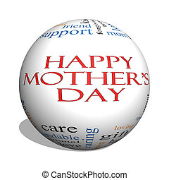 Happy Mother's Day 3D sphere Word Cloud Concept