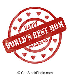 Red Weathered World's Best Mom Happy Mother's Day Stamp Circles and Hearts