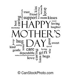 Happy Mothers Day Word Cloud Concept in black and white with...