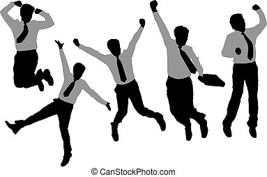 Silhouettes of happy jump and running Businessmen with white...