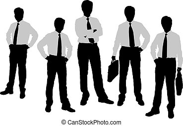 Silhouettes of Businessmen with white background