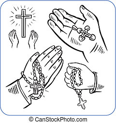 Hands and crosses - vector illustration. - Hands and...