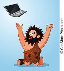 caveman worshiping a laptop - prehistoric age of caveman...