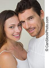 Close-up portrait of a happy couple - Close-up portrait of a...