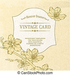 Card with spring roses in vintage style