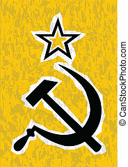 CCCP - Hammer and Sickle grunge effect set on a yellow...