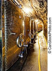 fermentação, tanques, Winery, tcheco,...