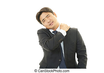 Businessman with shoulder pain. - Man sore shoulder isolated...
