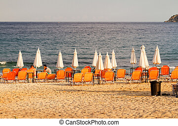 Coastline in Thassos - Sandy beach at the coast in Thassos...
