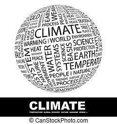 CLIMATE. Background concept wordcloud illustration. Print...