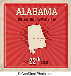 Alabama travel poster - Alabama travel vintage grunge...