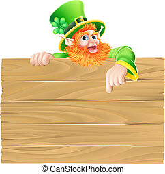Cartoon Leprechaun Wooden Sign - Saint Patrick s day...