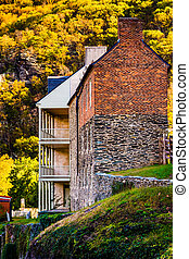 Historic buildings and autumn color in Harpers Ferry, West Virginia.