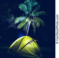 Tent in night - night scene in desert camping