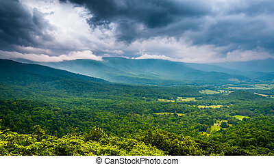 Spring storm clouds over the Blue Ridge Mountains, seen from Skyline Drive in Shenandoah National Park, Virginia.