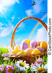 예술, 부활절, 달걀, 바구니