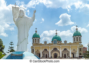Statue of Jesus Christ overlooking Bole Medhane Alem Church...