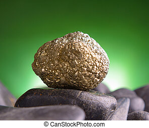 Iron pyrite also known as a fool's gold natural crystal on...