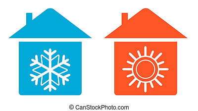 set warm and cold in home icon - set air conditioning icon -...