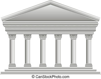 Corinthian Greek temple on white background