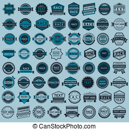 Racing badges - big blue set, vintage style, vector...
