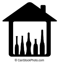 icon with bottle in home - black icon with bottle in home...