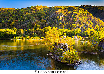 Remains of a bridge in the Shenandoah River, in Harper's Ferry, West Virginia.