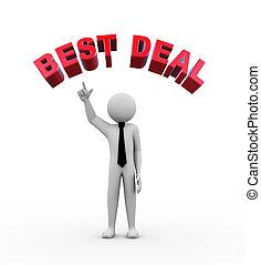 3d businessman with best deal illustration