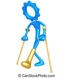 Injured Gear Person - 3D Concept And Presentation Figure