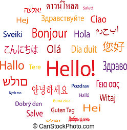 Hello word in languages of the world. Vector illustration.