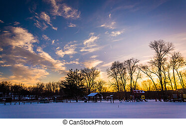 Winter sunset over Loys Station Park in Frederick County,...