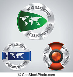 Various worldwide metallic guarantee badges with color...