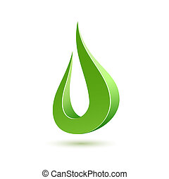 Abstract green drop icon. Vector illustration