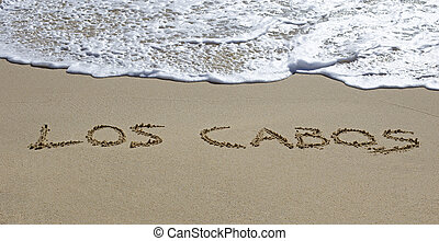 los cabos written on a wet beach
