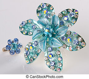 jewellery brooches on a background - jewellery brooches on...
