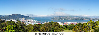 Panoramic landscape Otago Bay Dunedin - Broad panoramic...
