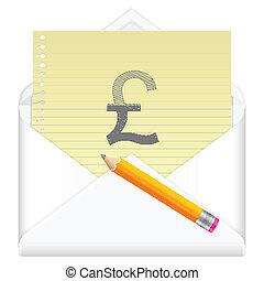 envelope with drawing british pound symbol - Envelope,...
