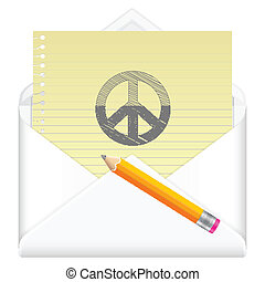 envelope with drawing peace symbol - Envelope, notebook...