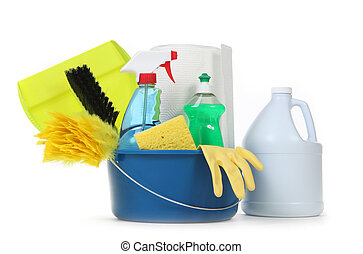 Blank Household Cleaning Supplies in a Bucket - Household...