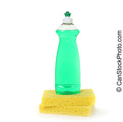 Dishwashing Liquid in a Bottle With 2 Yellow Sponges