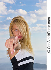 woman pointing a finger at the camera