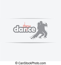 Silhouette of dancing couple isolated on a white background