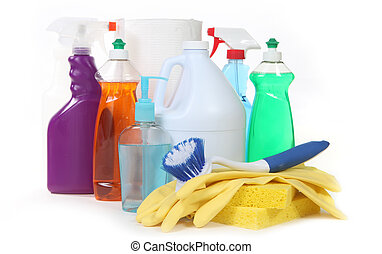 Various Household Cleaning Products on White Background