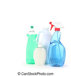 Household Cleaning Products Dishsoap Window Cleaner and Bleach